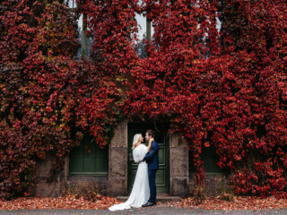 Oslo botanical gardens Norway wedding elopement couple