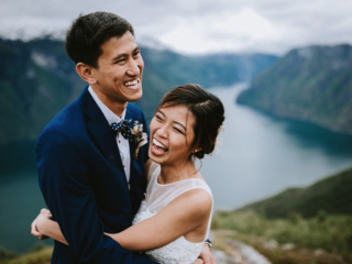 Aurland mountain fjord Norway wedding elopement couple photographer