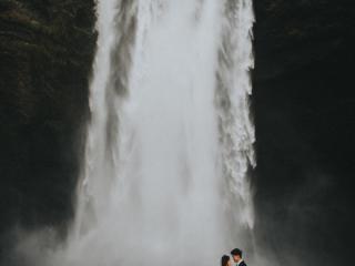 Skogafoss waterfall elopement Iceland wedding couple photographer
