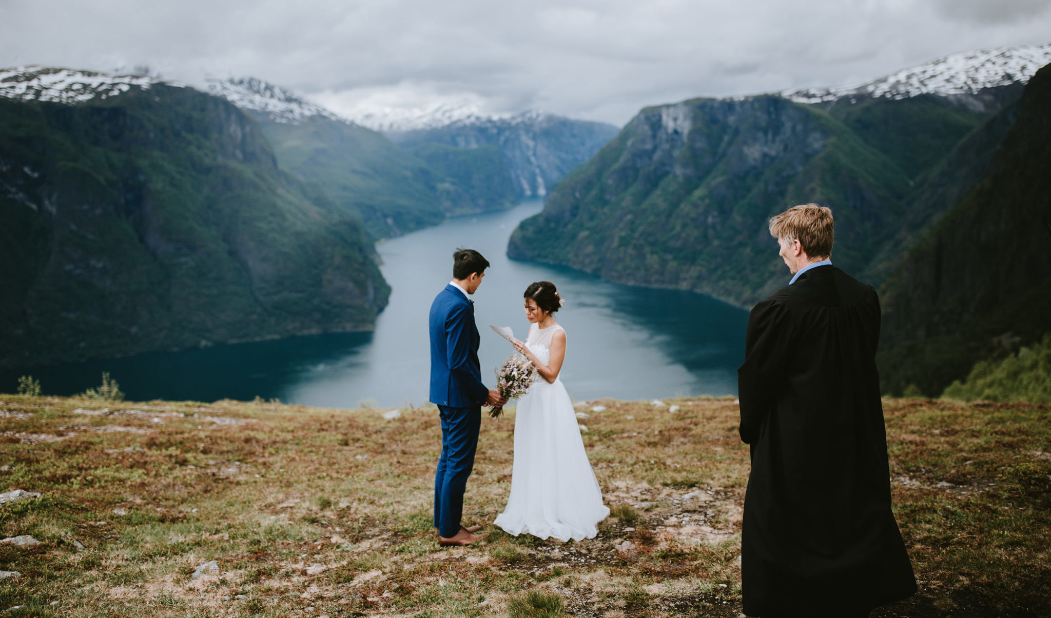 Aurland Mountain fjord ceremony Norway elopement wedding photographer