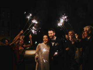 Unique Sparkler exit Norway wedding elopement couple