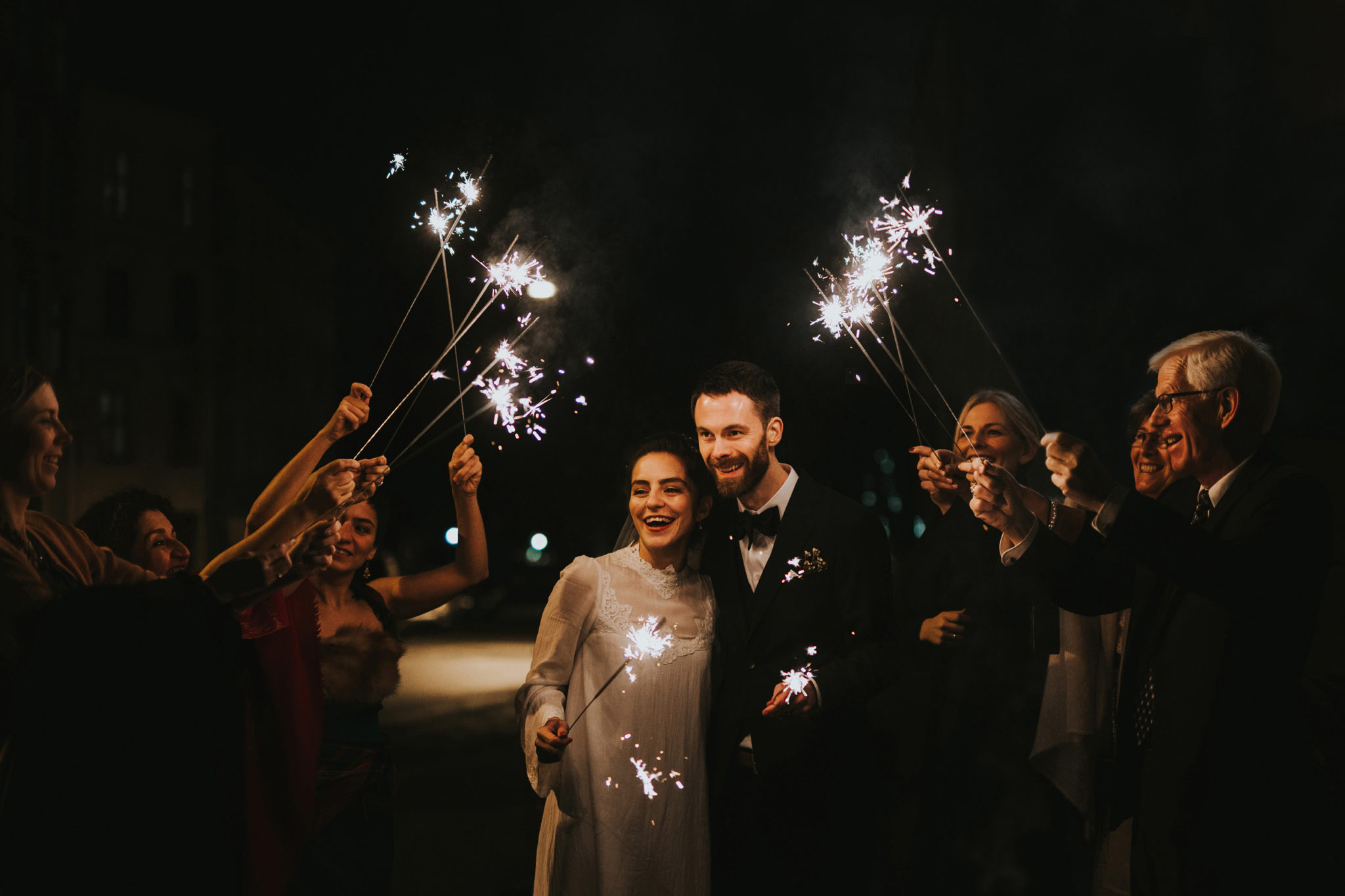 Unique Sparkler exit Norway wedding elopement couple
